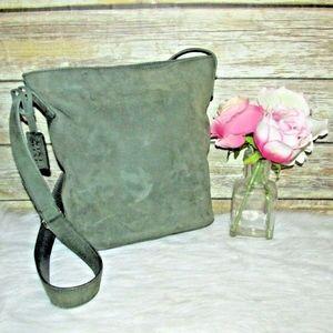Vintage Nine West Green Suede Leather Crossbody